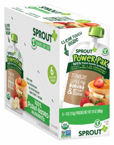 Sprout Strawberry with Superblend Banana & Butternut Squash Stage Toddler Puree Pouch Perspective: front