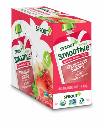 Sprout Organic Strawberry Banana Smoothie Toddler Food Perspective: front