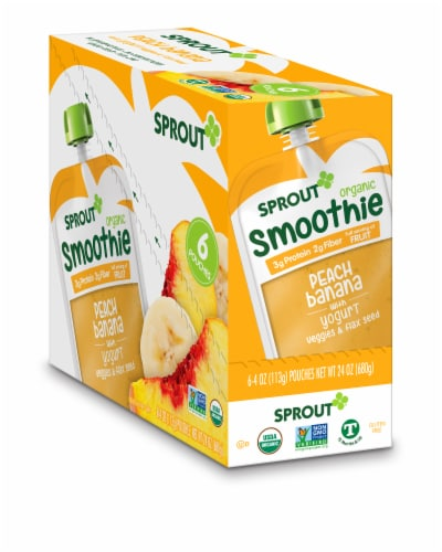 Sprout Organic Smoothie Peach Banana with Yogurt Veggies & Flax Seed Baby Food Perspective: front