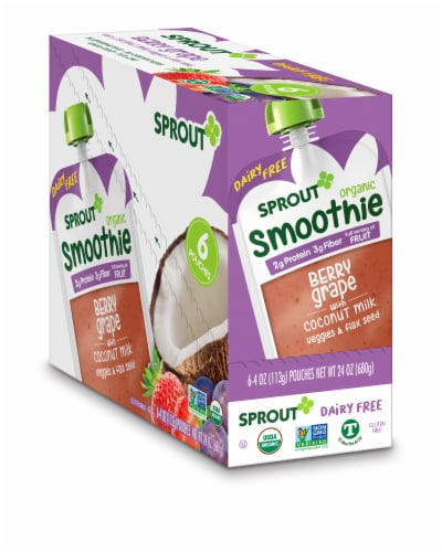Sprout Organic Smoothie Berry Grape with Coconut Milk Veggies & Flax Seed Baby Food Perspective: front