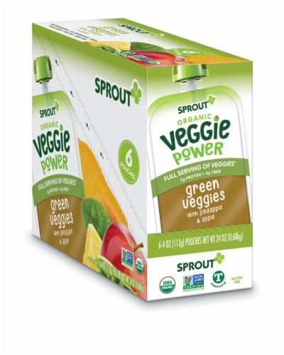Sprout Organic Veggie Power Green Veggies with Pineapple & Apple Baby Food Perspective: front