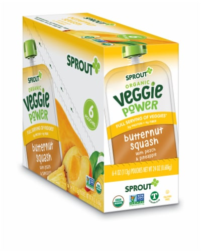 Sprout Organic Veggie Power Butternut Squash with Peach & Pineapple Baby Food Perspective: front