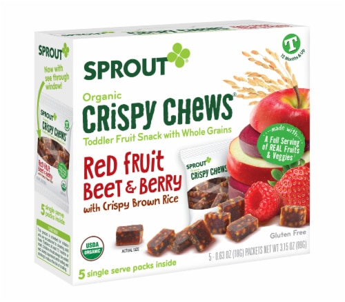 Sprout Red Fruit Beet & Berry with Crispy Brown Rice Organic Toddler Crispy Chews Perspective: front