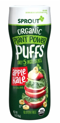 Sprout Organic Plant Power Puffs Apple Kale Baby Food Perspective: front