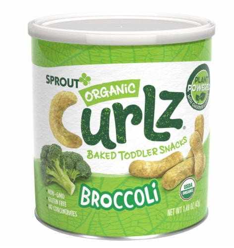 Sprout Organic Curlz Broccoli Baked Toddler Snacks Perspective: front