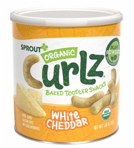 Sprout Organic White Cheddar Curlz Backed Toddler Snacks Perspective: front