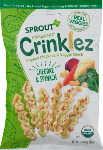 Sprout Organic Crinklez Cheesy Spinach Popped Veggie Snack Perspective: front
