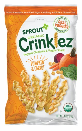 Sprout Organic Crinklez Popped Veggies Snack Pumpkin Carrot Baby Food Perspective: front