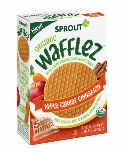 Sprout Organic Wafflez Apple Carrot Cinnamon Baby Food 5 Count Perspective: front