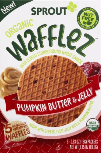 Sprout Organic Wafflez Pumpkin Butter & Jelly Baby Food 5 Count Perspective: front