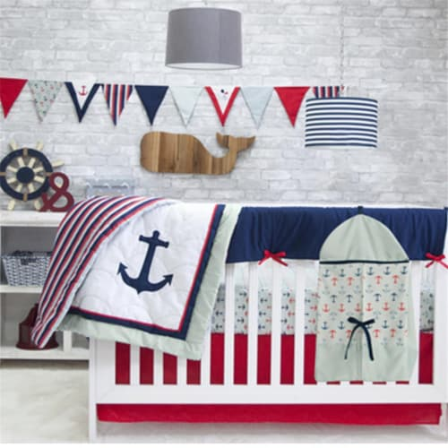 Pam Grace Creations BDNB-NAUTICAL Anchors Away 6-Piece Crib Bedding Set Perspective: front
