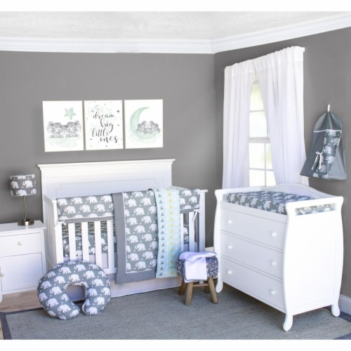 Pam Grace Creations BDNB-6-Elephant Indie Elephant Crib Bedding Set  Grey & White - 6 Piece Perspective: front