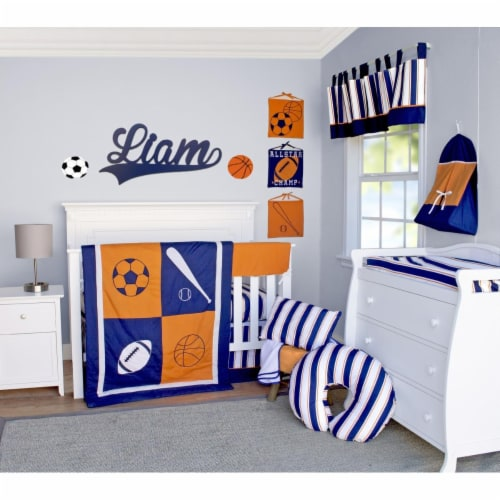 Pam Grace Creations BDNB-10-Sports All Star Sports Crib Bedding Set  Navy Blue  Orange & Whit Perspective: front