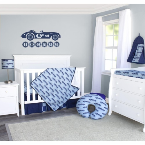 Pam Grace Creations BDNB-3-Cars Classic Racecars Crib Bedding Set  Navy Blue & Baby Blue - 3 Perspective: front