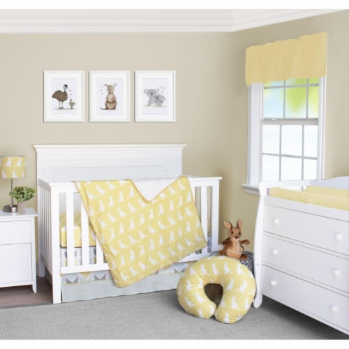 Pam Grace Creations BDNB-3-Kangaroo Honeydew Kangaroo Crib Bedding Set  Yellow Gold & White - Perspective: front