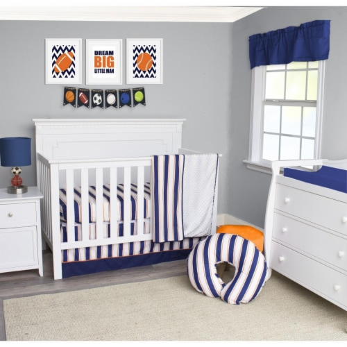 Pam Grace Creations Bdnb 3 Sports All, White And Navy Cot Bedding