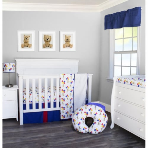 Pam Grace Creations BDNB-3-Bears Bears & Balloons Crib Bedding Set  Multi Color - 3 Piece Perspective: front