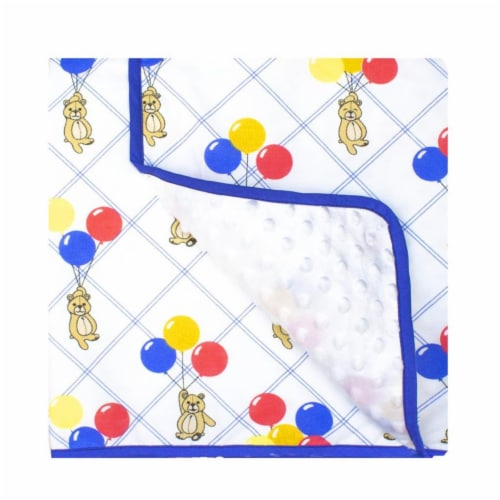 Pam Grace Creations BL-Bears 45 x 36 in. Bears & Balloons Reversible Chenille Dot Baby Blanke Perspective: front