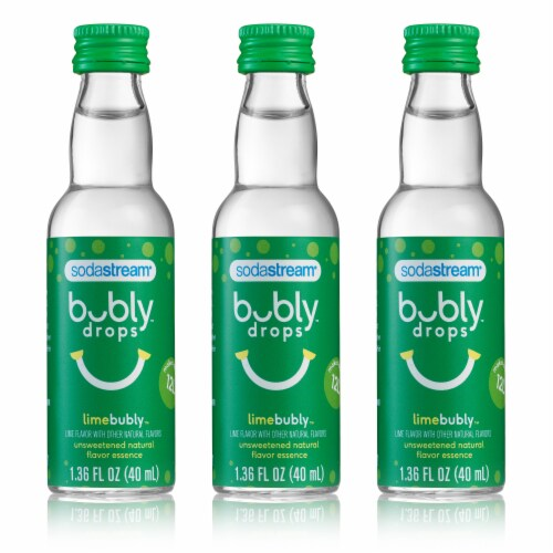 SodaStream bubly drops Lime Unsweetened Natural Flavor Essence - 3 Pack Perspective: front