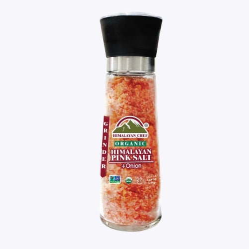 Himalayan Chef Organic Onion & Crushed Red Pepper With Pink Salt, Glass Grinder – 12.5 Oz Perspective: front