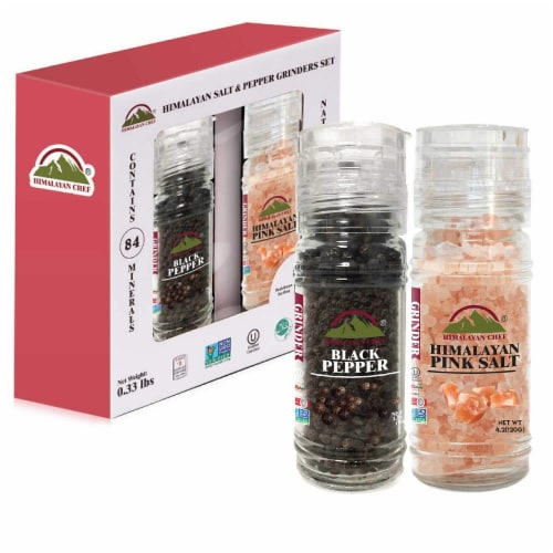 Himalayan Chef Himalayan Pink Salt & Black Pepper, Refillable Small Glass Grinder, Set of 2 Perspective: front