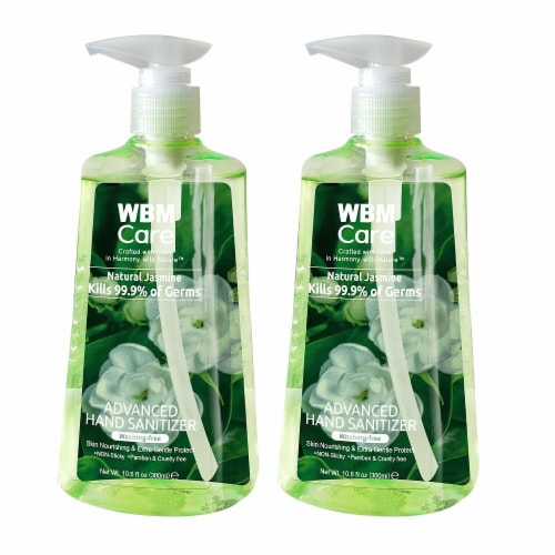 WBM Care Hand Sanitizer, 80% Alcohol-Based Liquid Sanitizer, Jasmine | Pack of 2/10.6 Oz Each Perspective: front