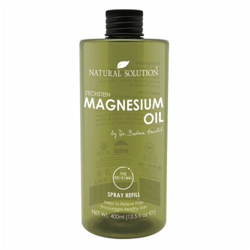 Natural Solution Magnesium Oil, Pure Genuine Zechstein Magnesium, Ultra-Pure Oil | 13.5 Oz Perspective: front