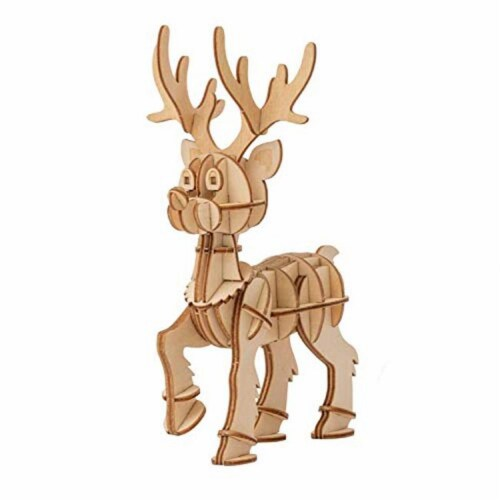 IncrediBuilds 3D Wood Reindeer Model Kit - Holiday Building Craft Project Perspective: front