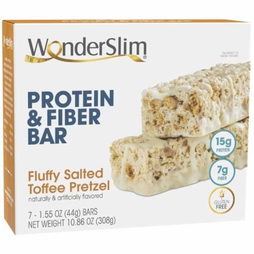 WonderSlim Protein & Fiber Bar, Fluffy Salted Toffee Pretzel (7ct) Perspective: front