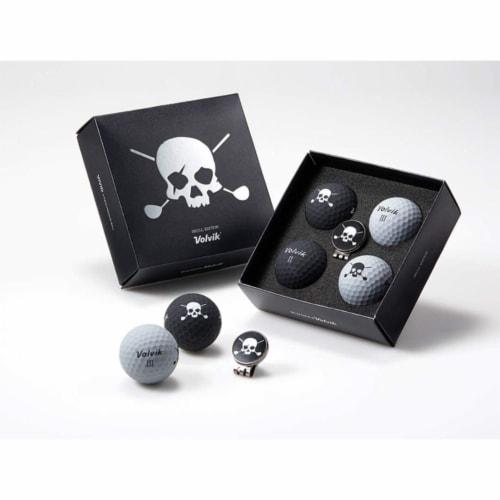 Volvik 5401 Volvik Skull Edition Golf Balls 4 Balls w Ball Marker Hat Clip Perspective: front