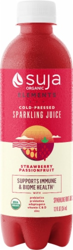 Suja Strawberry Passionfruit Sparkling Cold-Pressed Juice Perspective: front