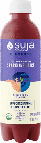 Suja Sparkling Blueberry Ginger Cold-Pressed Juice Perspective: front