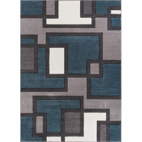Well Woven 600967 Imagination Squares Modern Rug, Blue - 7 ft. 10 in. x 9 ft. 10 in. Perspective: front