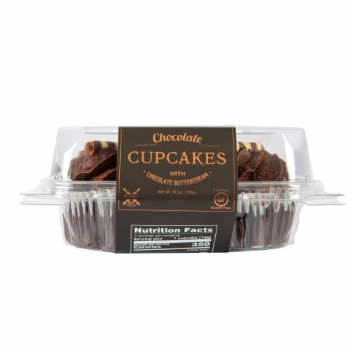 Antonina's Artisan Bakery Gluten Free Double Chocolate Decorated Cupcakes Perspective: front