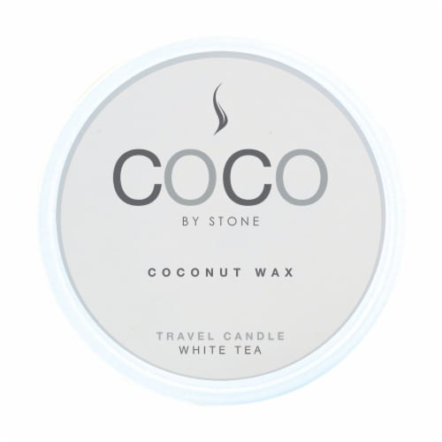 COCO by Stone White Tea Coconut Wax Candle Travel Tin Perspective: front