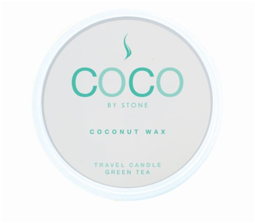 COCO by Stone Green Tea Coconut Wax Candle Travel Tin Perspective: front