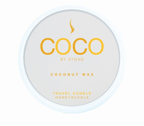 COCO by Stone Honeysuckle Coconut Wax Candle Travel Tin Perspective: front
