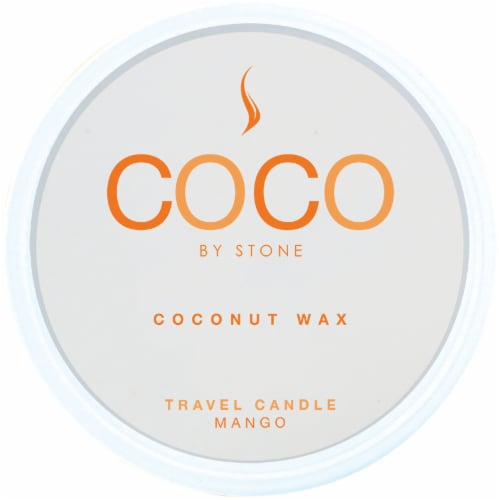 COCO by Stone Mango Coconut Wax Candle Travel Tin Perspective: front