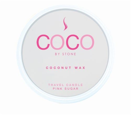 COCO by Stone Pink Sugar Coconut Wax Candle Travel Tin - Pink Perspective: front