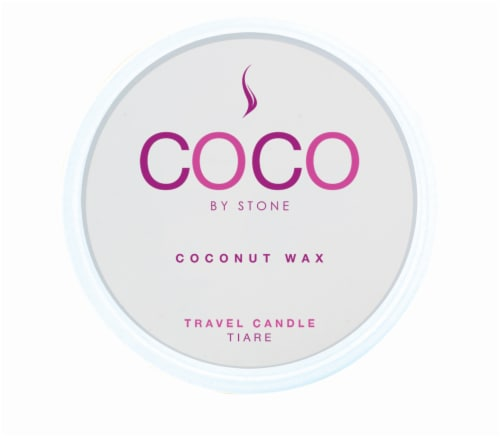 COCO by Stone Tiare Coconut Wax Candle Travel Tin Perspective: front