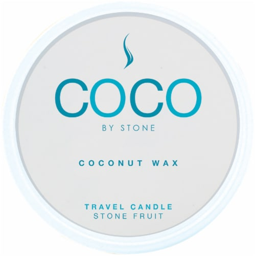 COCO by Stone Fruit Coconut Wax Candle Travel Tin Perspective: front