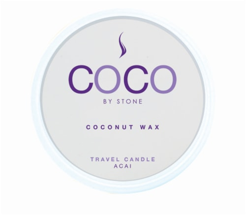 COCO by Stone Acai Coconut Wax Candle Travel Tin Perspective: front