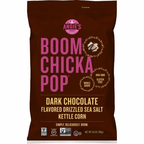Angie's Boom Chicka Pop Dark Chocolate Flavored Drizzled Sea Salt Kettle Corn Popcorn Perspective: front