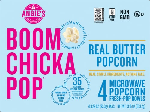 Angies Boom Chicka Pop Real Butter Microwave Popcorn 4 Count Perspective: front
