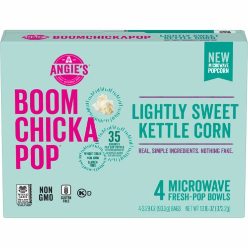 Angie's Boom Chicka Pop Lightly Sweet Kettle Corn Microwave Popcorn 4 Count Perspective: front