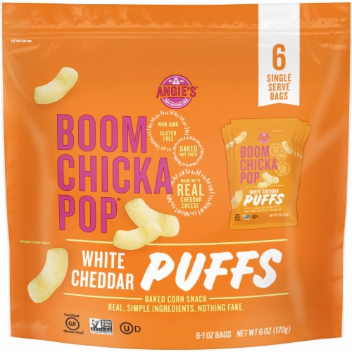 Angie's BOOM CHICKA POP White Cheddar Puffs 6 Count Perspective: front