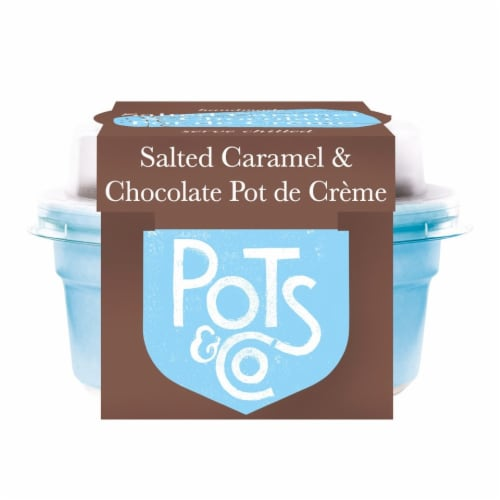 Pots & Co Salted Caramel and Chocolate Pot de Creme Perspective: front