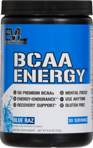 Evlution Nutrition BCAA Energy Blue Raz Flavor Dietary Supplement Powder Perspective: front