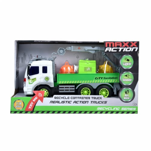 Maxx Action Recycle Container Truck Toy Perspective: front