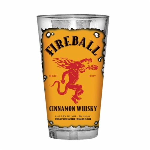 Fireball Whiskey 47167 Fireball Whisky Burnt Label Pint Glass Perspective: front